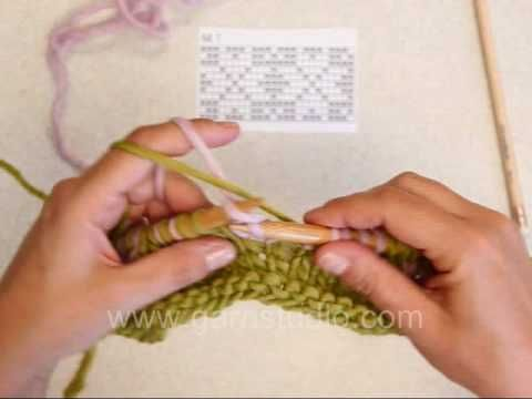 DROPS Knitting Tutorial: How to knit Fair Isle - 2 color knitting - continental - YouTube