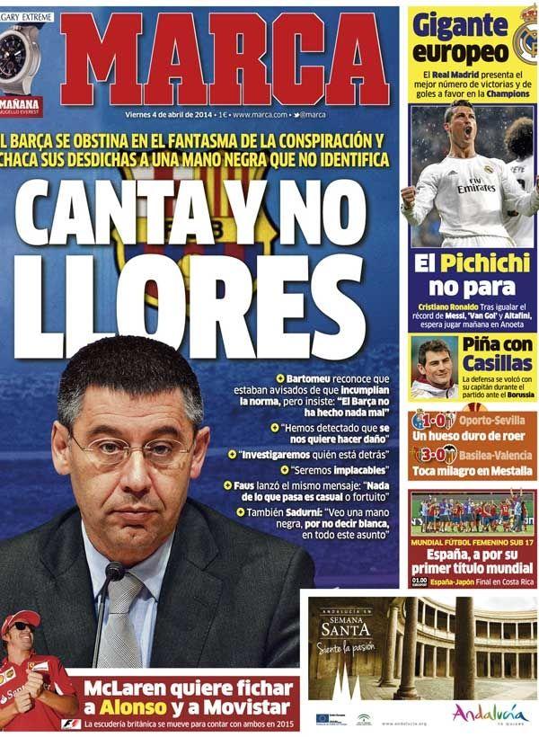 'Canta y no llores' | La portada del 4 de abril de 2014