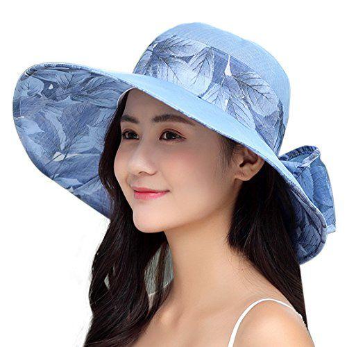 YONQUIL Women Floral Sun Hats Big Bowknot Summer Beach Cap Wide Brim UPF 50  Work Casual 20b8d425f8