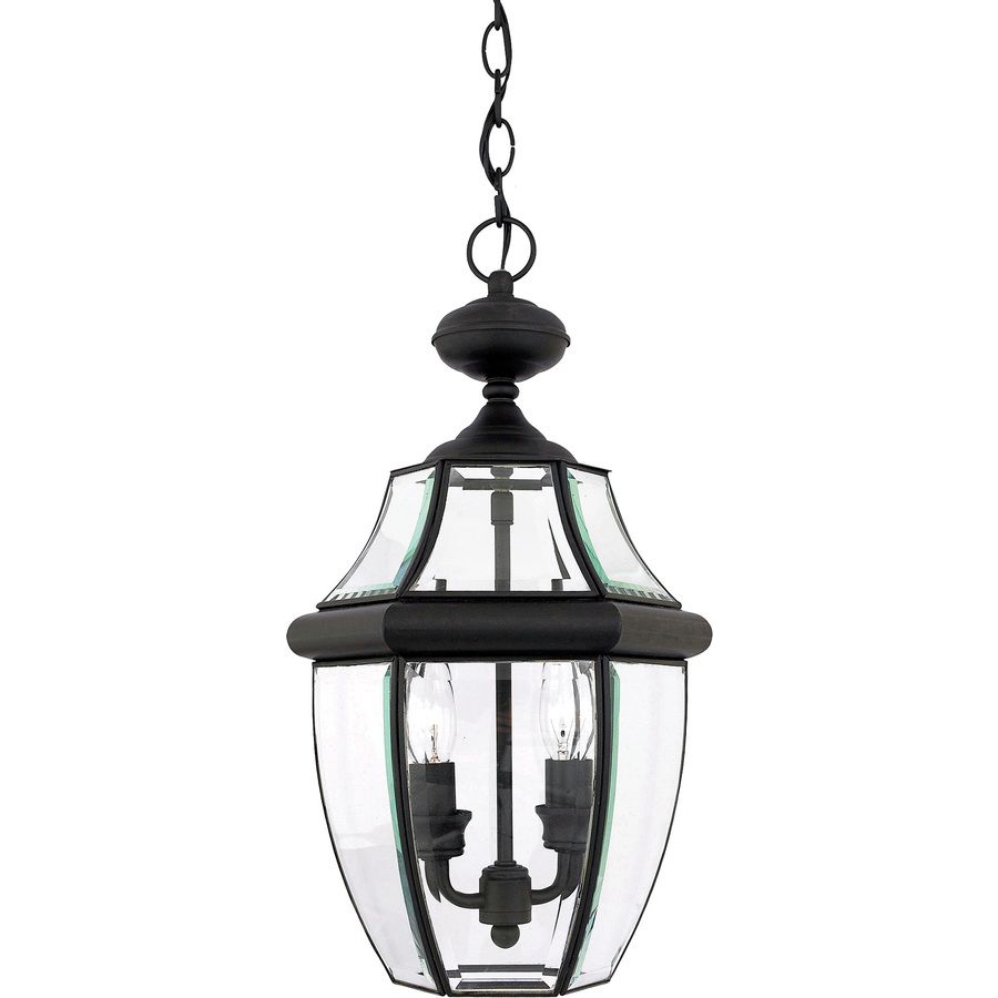 Outdoor Hanging Lanterns Lowes: Shop Portfolio Brayden 18.5-in Mystic Black Outdoor