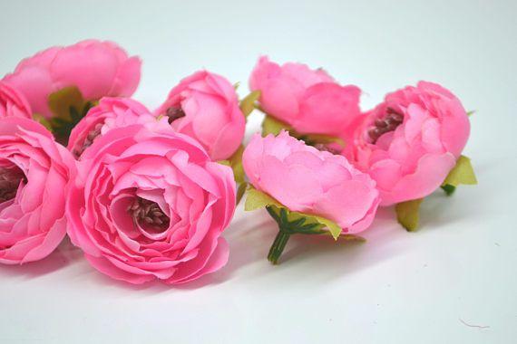 Small Ranunculus Artificial Flowers Silk Flower Heads Pink Fake