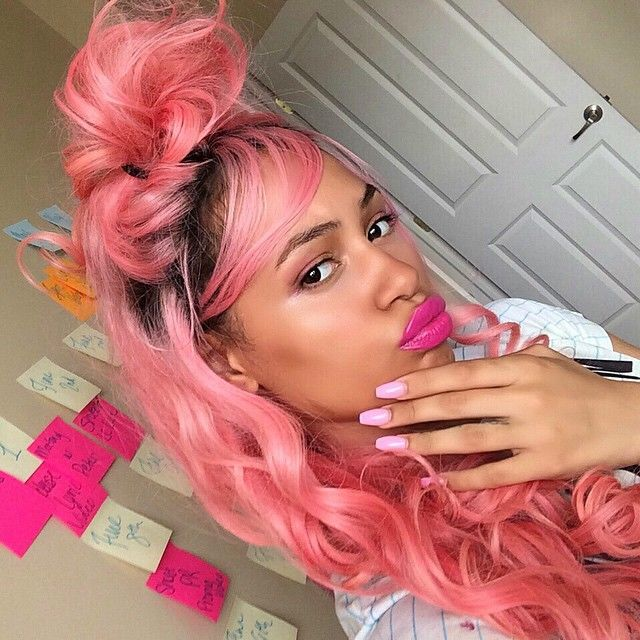 Coloration Cheveux Boucles Naturels Natural Hair Styles For Black Women Black Girl Pink Hair Dark Pink Hair