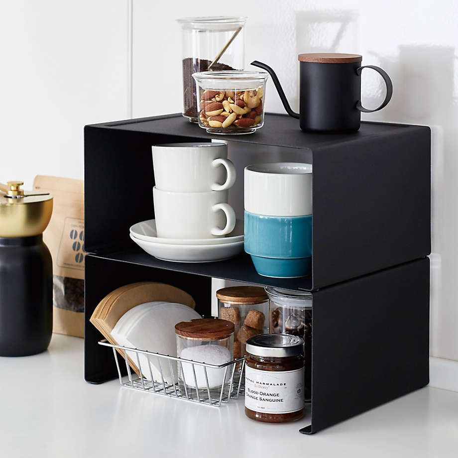Yamazaki Tower Large Black Kitchen Steel Rack + Reviews | Crate and Barrel