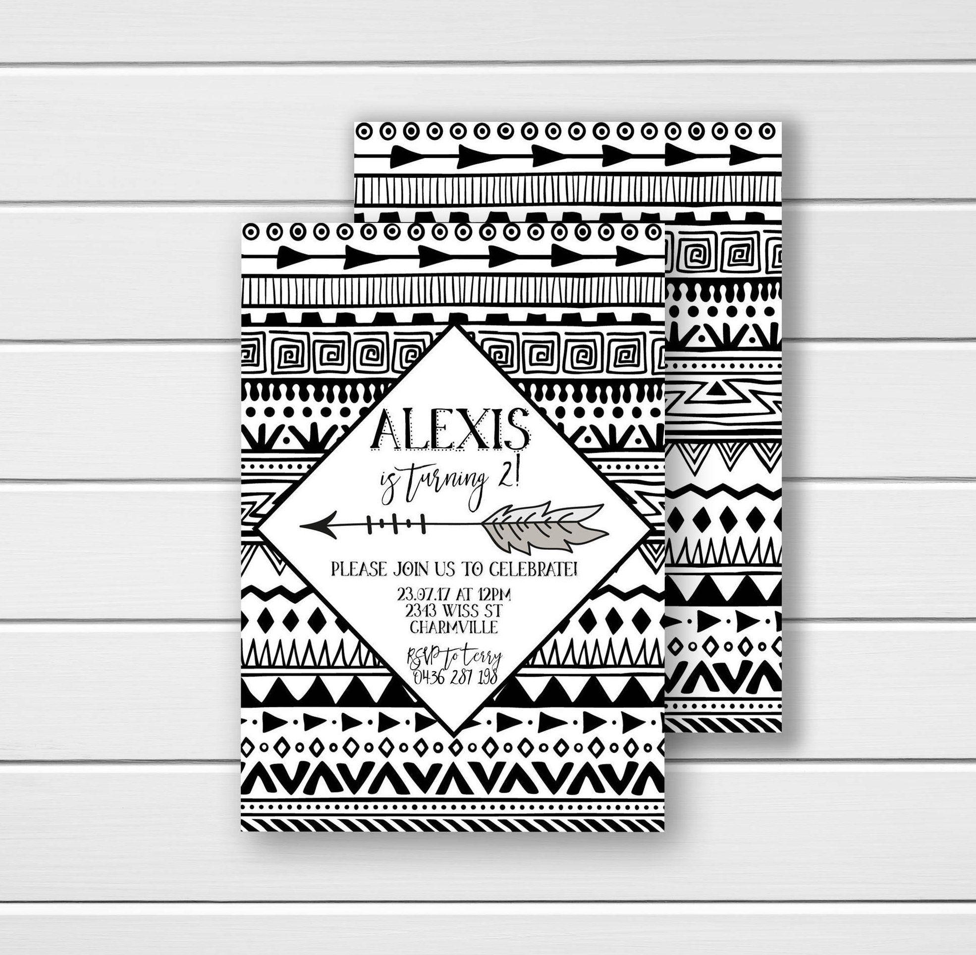 Tribal Birthday Invite, Black and White Birthday Invitations, Aztec ...