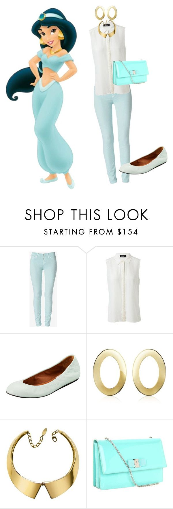 """""""Disney princesses' new clothes:Modern Jasmine"""" by blackqueen123 ❤ liked on Polyvore featuring Hudson Jeans, GUESS by Marciano, Lanvin, Mita Marina Milano, Giuseppe Zanotti, Salvatore Ferragamo and modern"""