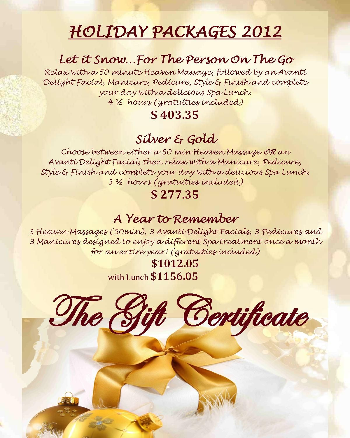 Holiday Packages 2012 - Give the GIFT of pure relaxation! Call 732-780-0222
