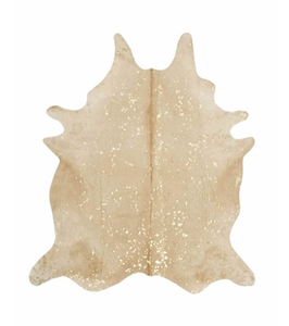 """BEIGE AND GOLD HIDE RUG $650.00 Size: X-Large 40-46 SQ F, or approx. 6.5"""" by 7.5"""""""