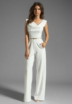 black halo jackie jumpsuit in white winter white lyst