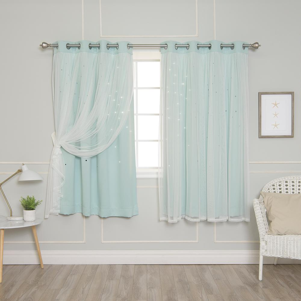 Best Home Fashion 63 In. L Mint (Green) Tulle Overlay Star