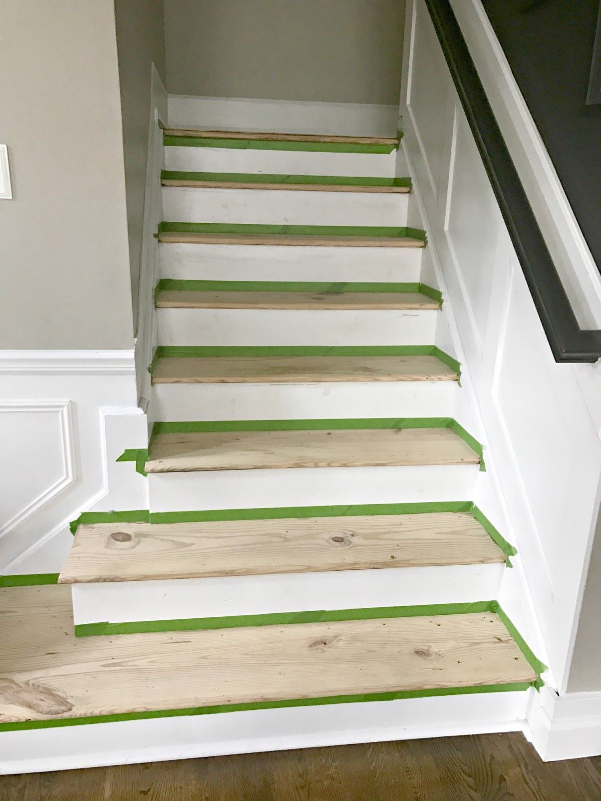 Wood And White Stair Makeover Stair Makeover White Stairs   White Stairs With Wood Steps   Light Wood   White Riser   Outdoor   Dark   Traditional