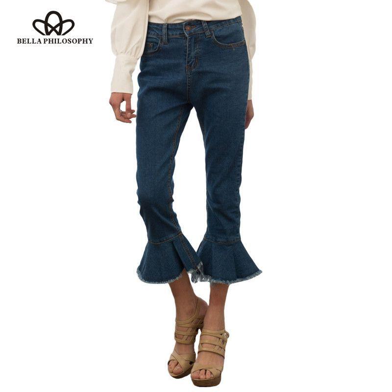 Bella Philosophy 2017 spring summer denim Ruffles calf-length zipper pants blue black