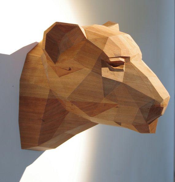 wooden leopard head beautiful cherrywood sculpture geometric design limited edition. Black Bedroom Furniture Sets. Home Design Ideas