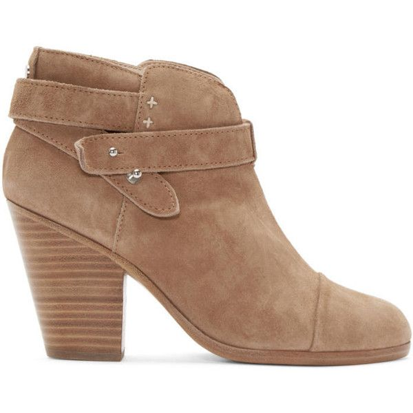 Rag and Bone Camel Suede Harrow Boots (21,600 PHP) ❤ liked on Polyvore featuring shoes, boots, ankle booties, camel, studded boots, studded ankle booties, camel booties, round toe boots and high ankle booties