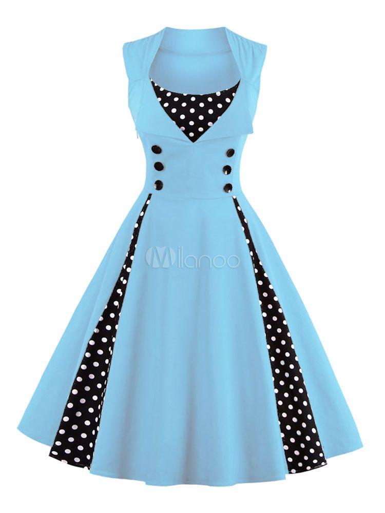 4d009f04ecf Women s Vintage Dress Light Blue Square Neckline Sleeveless Polka Dot  Pleated Skater Dress