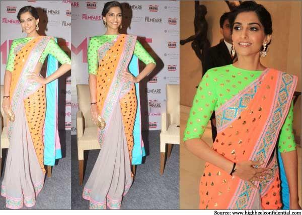 Sonam Kapoor Manish Arora Filmfare Launch Delhi Sari Indian Fashion Designer Manish Arora Indian Fashion Designers Indian Fashion Fashion