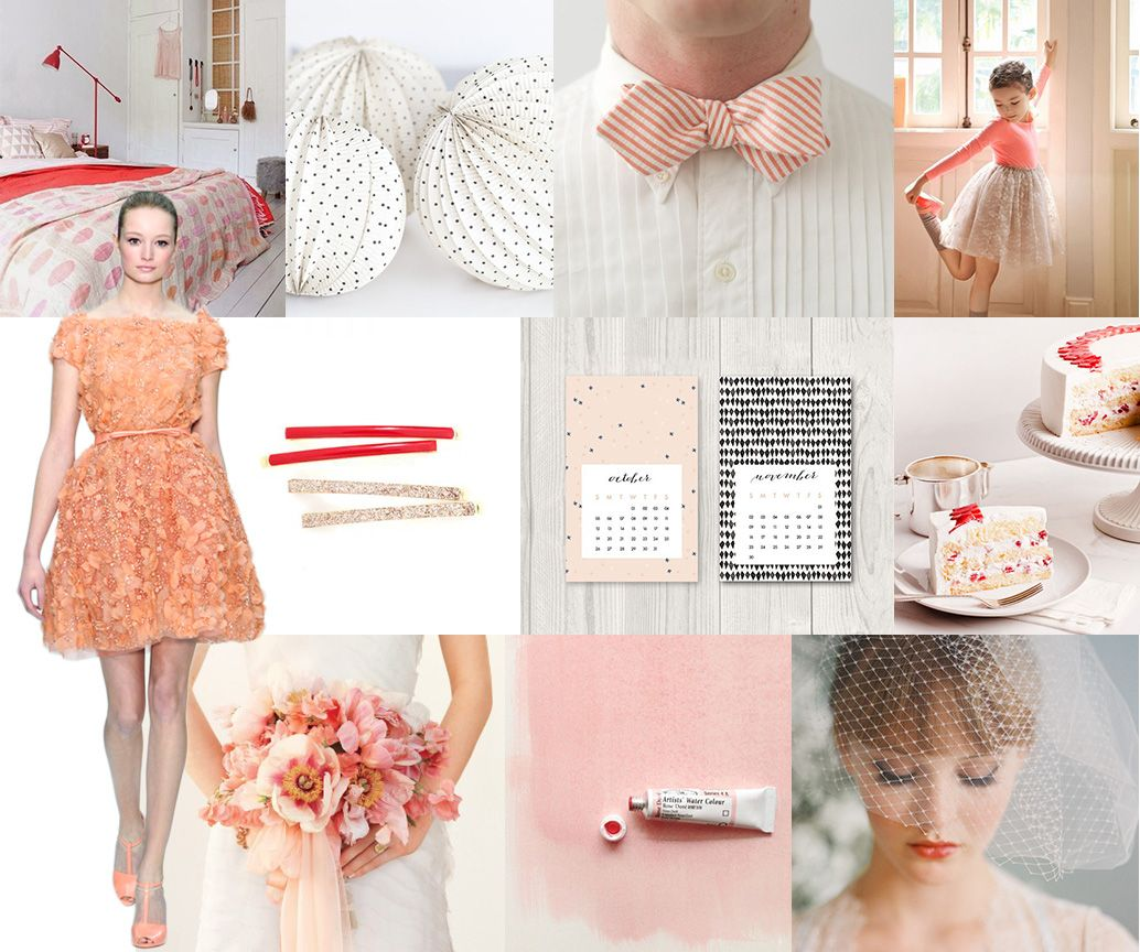 snippetandink inspiration board. mood: cheery, fun. palette: coral