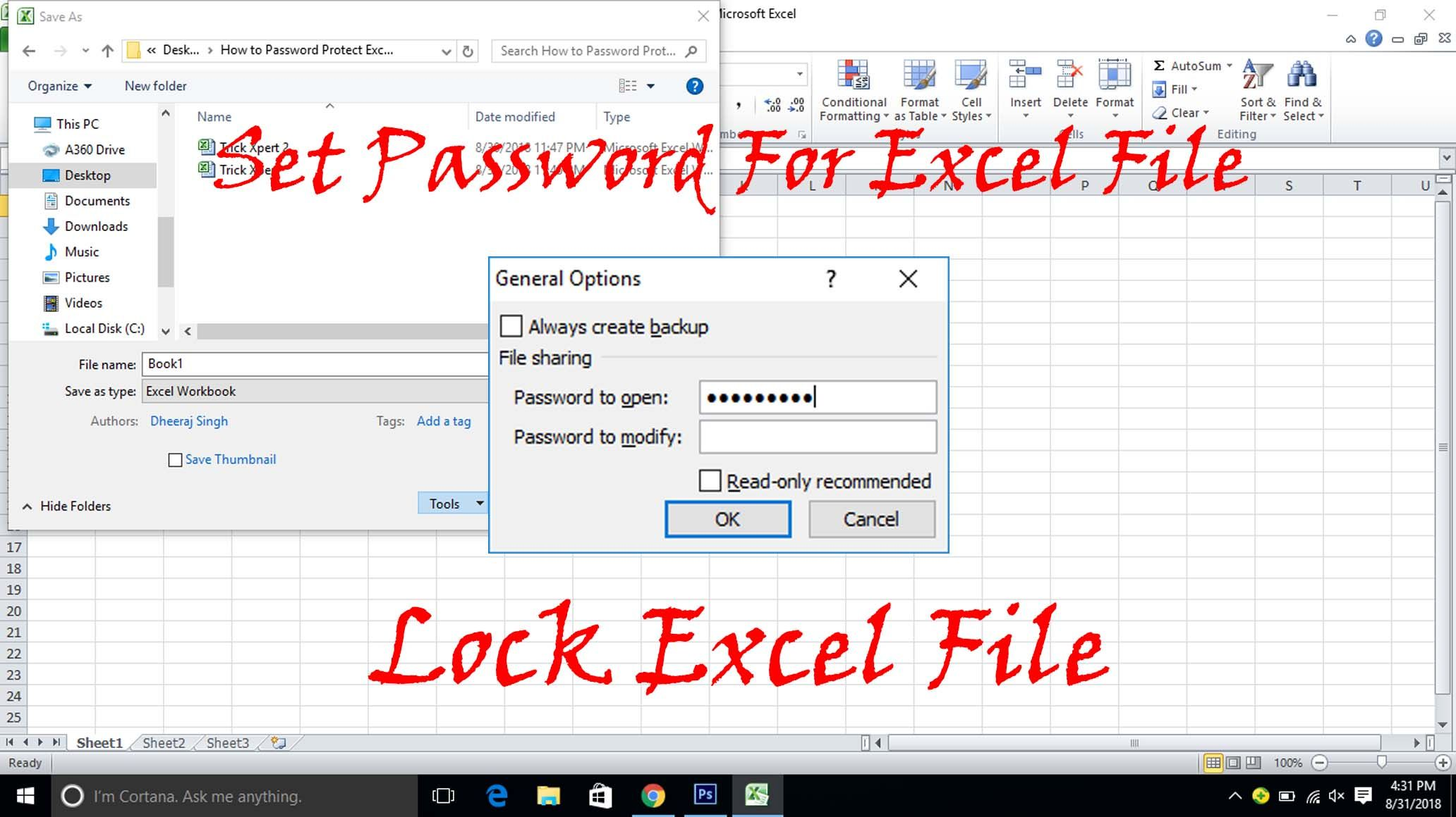 How To Password Protect Excel File 3 Methods Excel Workbook