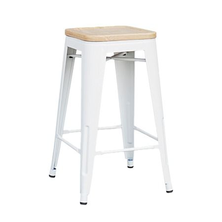 Reside Metal Stool With Wood Top 66cm White Metal Stool Stool Steel Stool