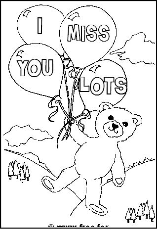 picture regarding Free Printable Miss You Cards titled Teddy Go through with I Pass up By yourself Information coloring sheets Buy