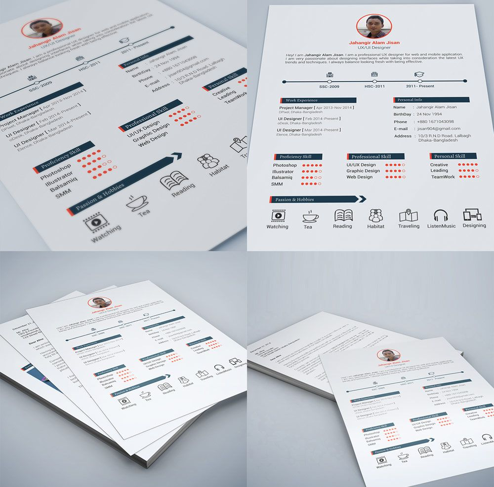 25+ Best Free Resume / CV Templates PSD Web designer