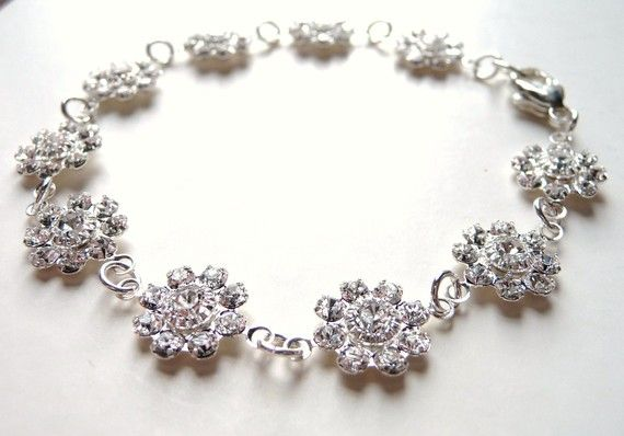 CIJ SALE 10 OFF Swarovski Wedding Bracelet Clear by JBMDesigns
