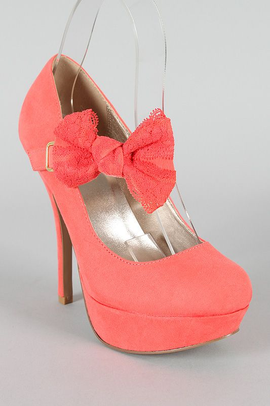 coral platform heels with bow - Qupid Onyx-74 Mary Jane Bow Stiletto Pump