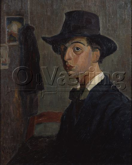 Bilde: Selvportrett, 1906 Selvportrett, 1906 Artist Artist: Isaac Grünewald ( 1889-1946) Dimensions: 71.5x58.5 cm/