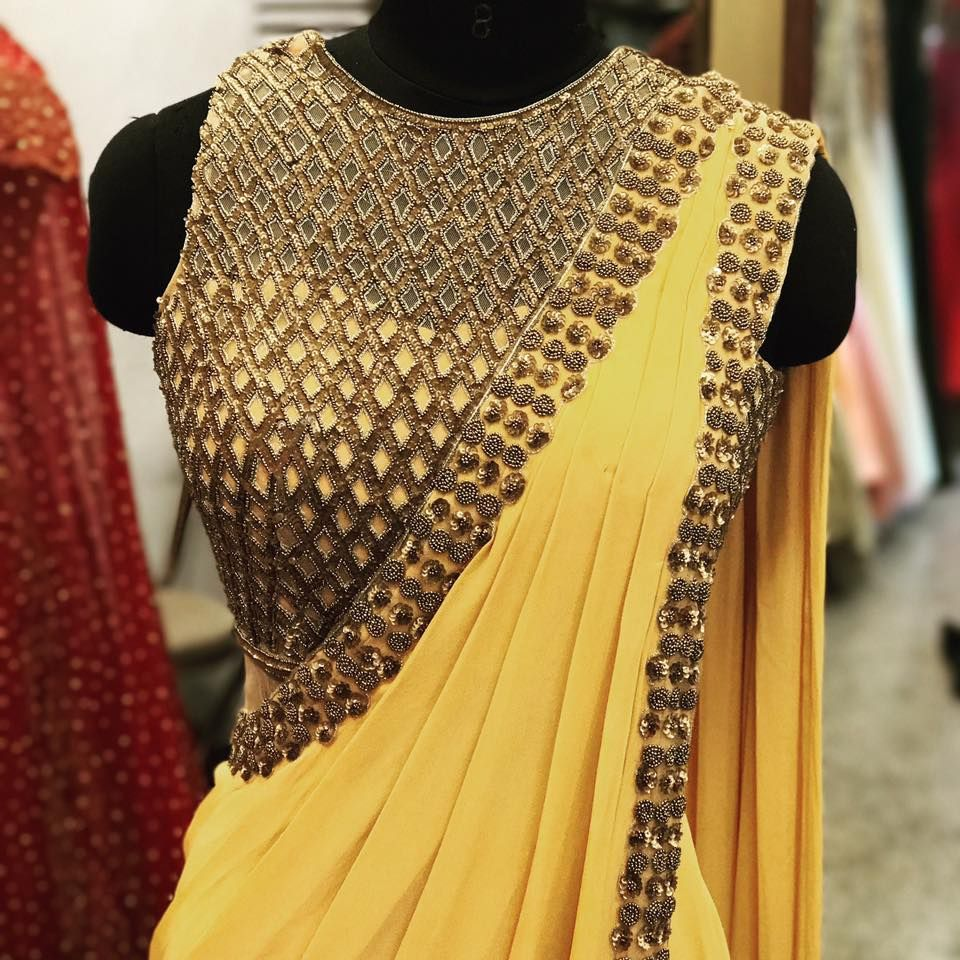 Pre draped gown sari by AD Singh
