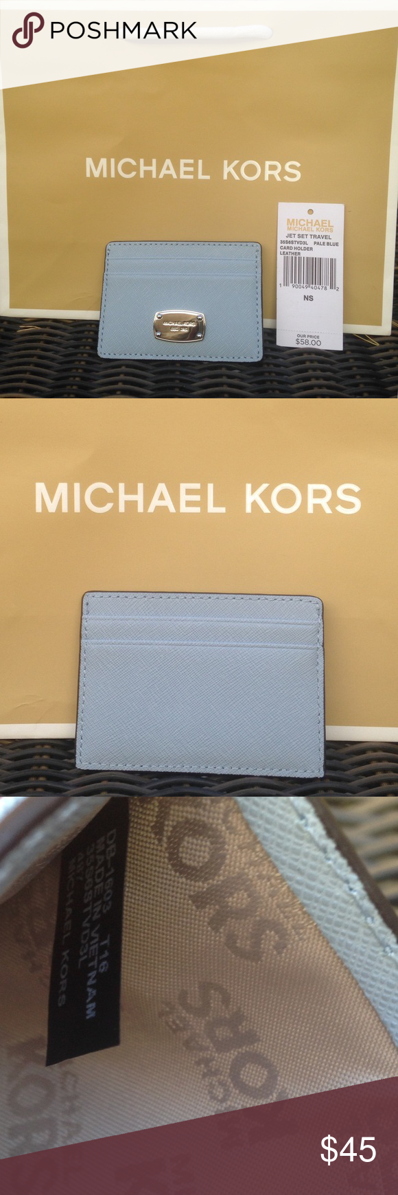 0ba27ee0b73a MK Jet Set Travel Leather Card Holder Michael Kors Jet Set Travel Leather Card  Holder Pale Blue with Silver MK badge. Four card slots; currency pocket in  ...