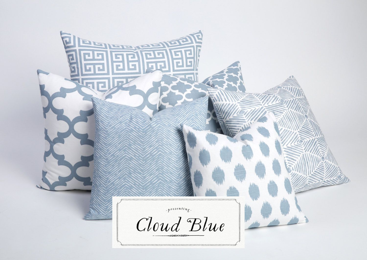 Cloud Blue Collection Decorative Throw Pillow by Pillomatic