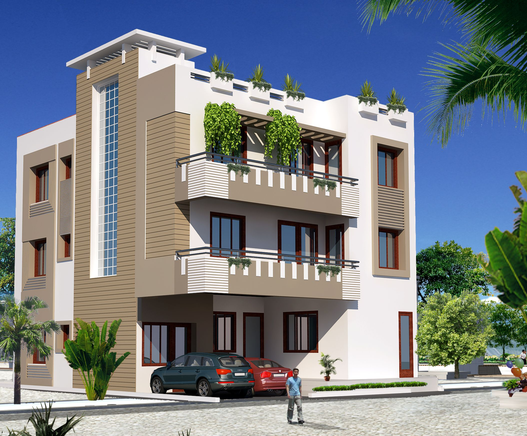 Independent floors click on this link for House elevation for three floors building