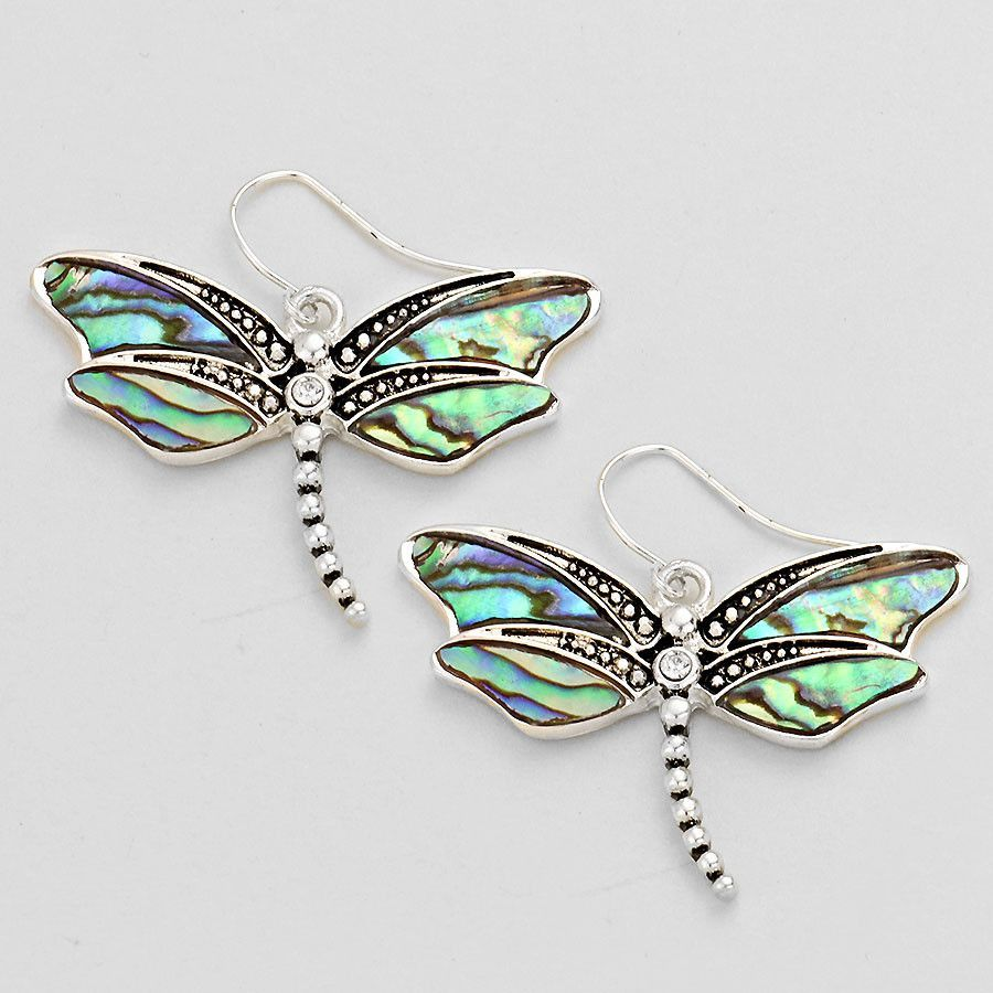 "Silver tone and abalone Dragonfly earrings. 1.5"" WIDTH 1.5"" LENGTH"