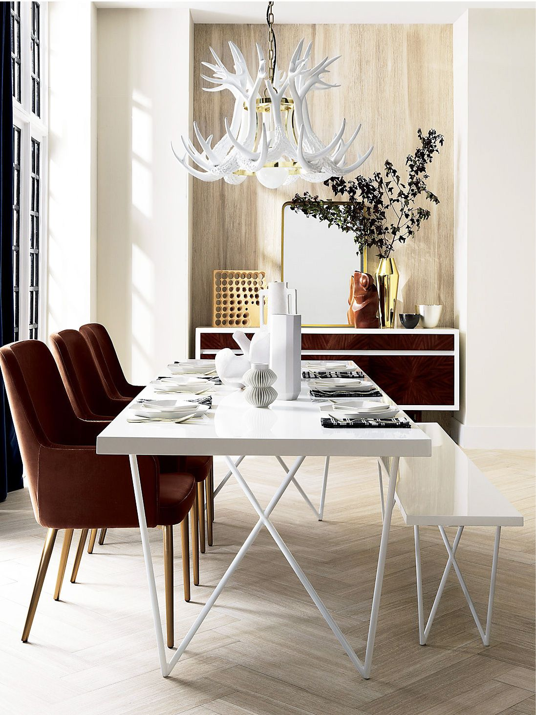 Aragon Velvet Dining Chairs With Modern White Dining Table And White