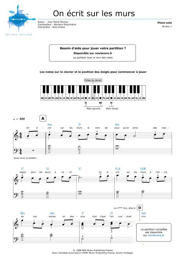Partition Piano Gratuite On écrit Sur Les Murs (Kids