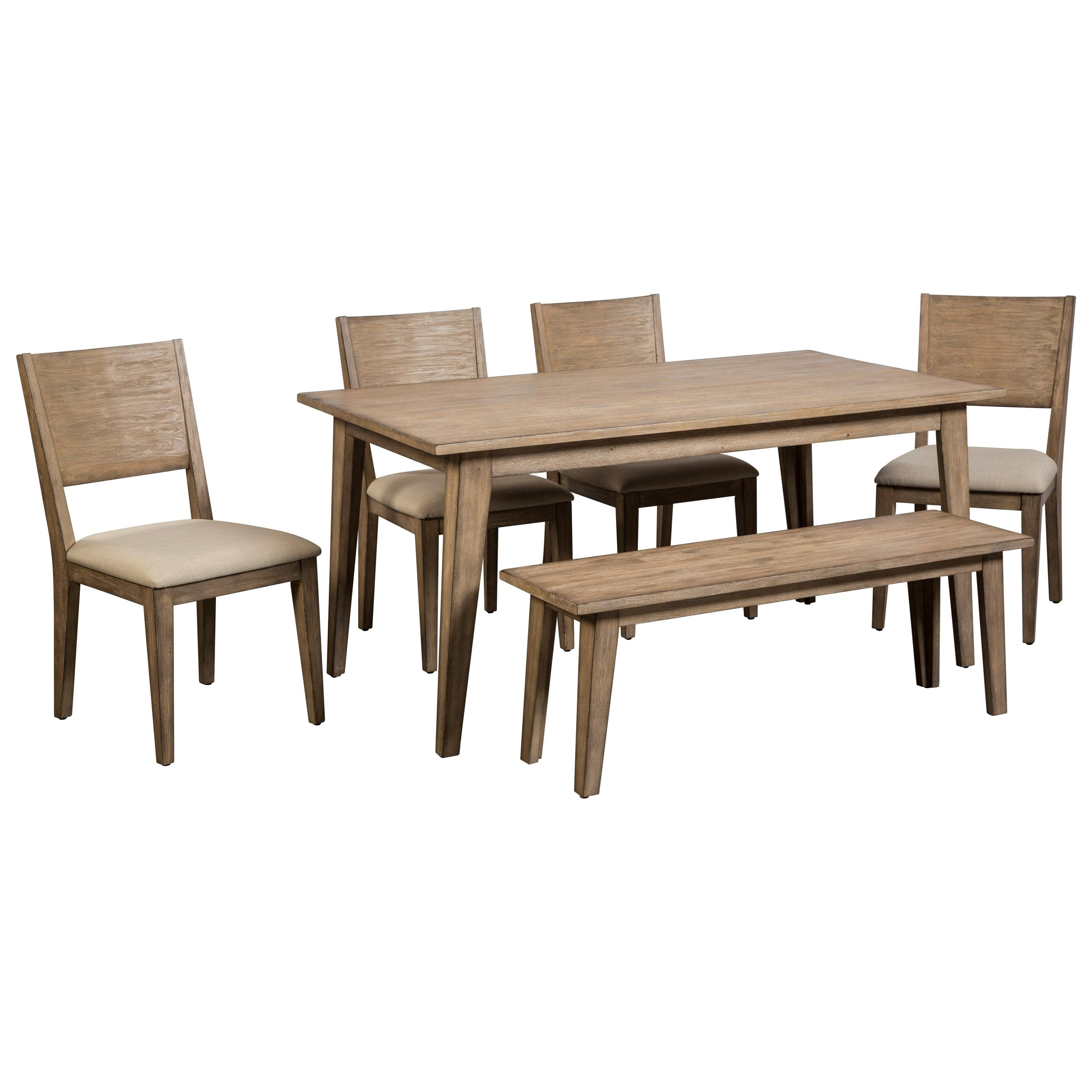 Anders 6 Piece Table And Chair Set With Bench By Cresent Fine Furniture At Belfort Furniture With Images Side Chairs Dining Dining Room Table Set Solid Wood Table
