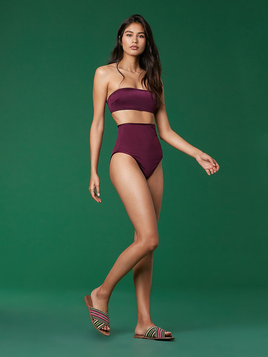 d967f9a6bedb2 In a neutral Currant, this modern swim bottom cuts above the thigh in a  subtly revealing, cheeky style and extends high above the belly button.