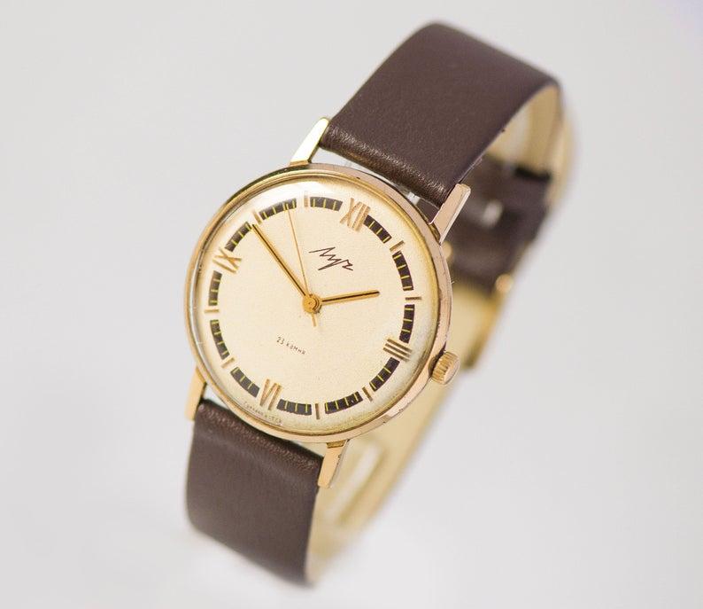 Unisex Watch Slim Gold Plated Poljot Gift Dress Watch For Men Shockproof Minimalist Wristwatch Women Oversized Genuine Leather Band New Armbanduhr Frauen Armband Leder Unisex Geschenke