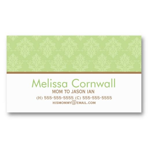 Green Damask Pattern Mom Calling Cards Zazzle Com Calling Cards Damask Pattern Business Card Size