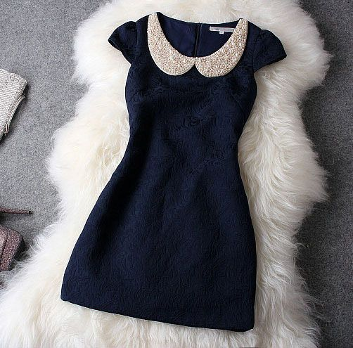 Fashion Luxury Designer Dark Blue Dress With Pearl Beaded Collar