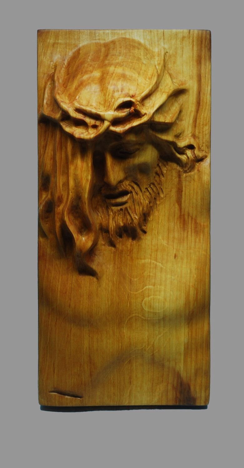Wood carving jesus plaque relief woodworking art