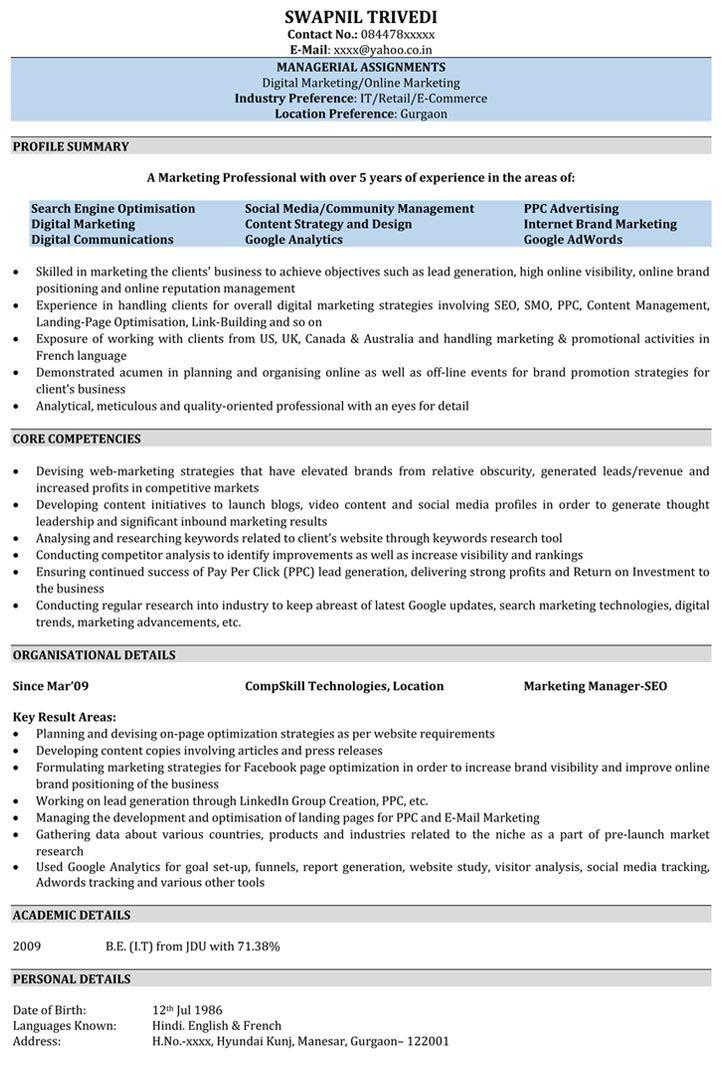 resume-formatjpg (722×1066) rajaprabha Pinterest Sample