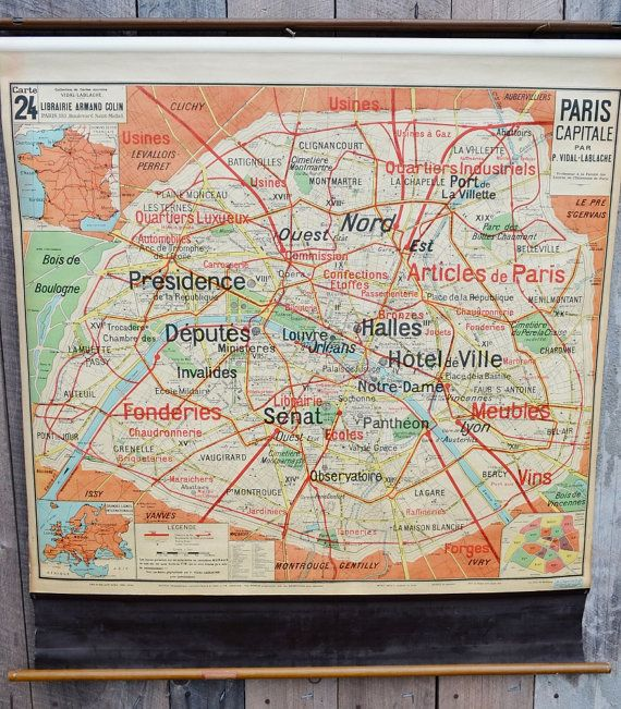 Paris Map French Pull Down Classroom School Antique Carte 24 Vidal