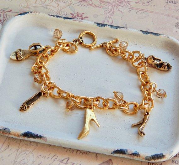 3c149cca2cc4b Imelda - girly shoe charm bracelet - shoe bracelet - gold shoes ...