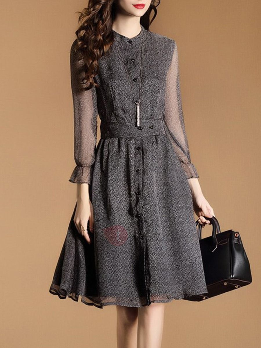 Long sleeve chiffon womenus skater dress da camila pinterest