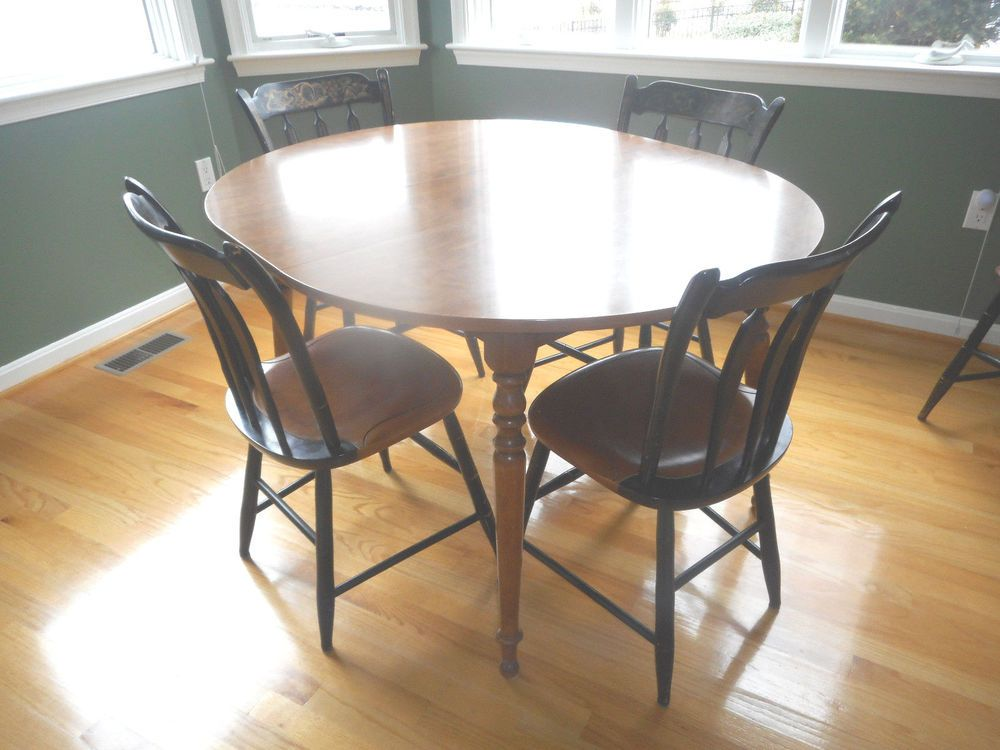 ethan allen american tradition maple round table w leaf u0026 5 hitchcock chairs
