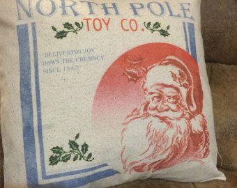 Santa pillow, Santa pillow cover, Santa decorative pillow, north pole pillow, north pole pillow cover, north pole decorative pillow - Edit Listing - Etsy