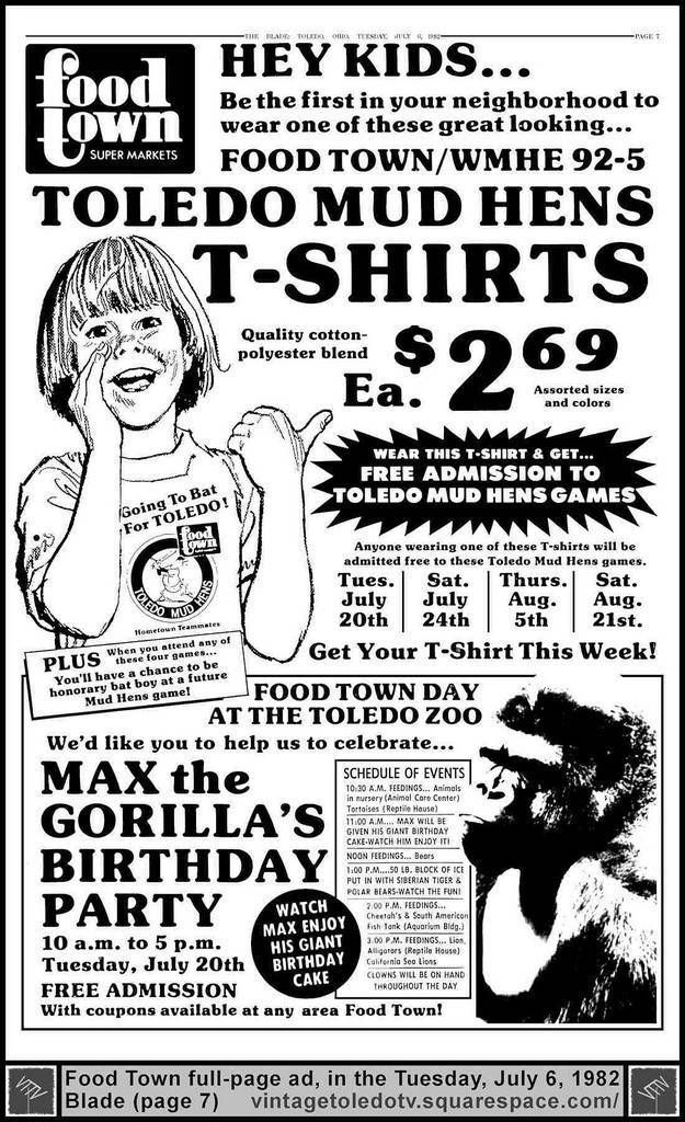The Glorious 1970s T Shirt Flashbak 1970s Tshirts Toledo Mud Hens Funny Ads