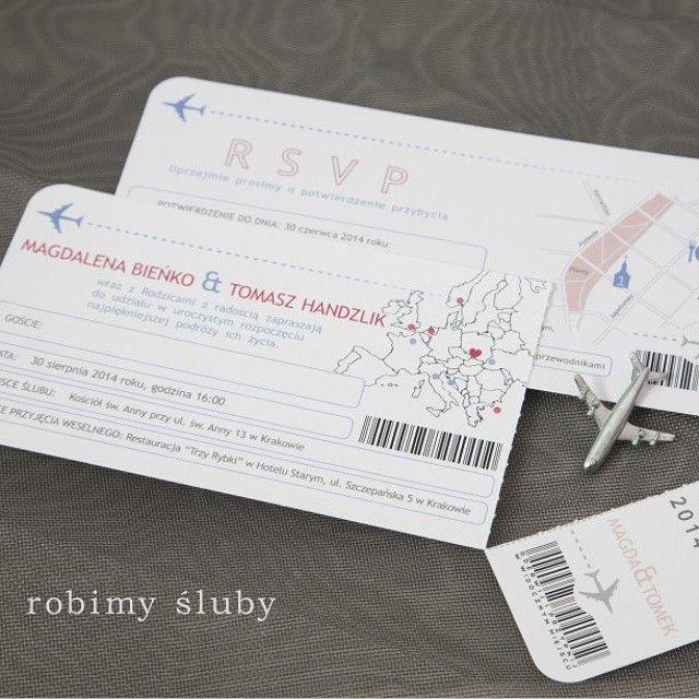 Zaproszenia ślubne Dla Podróżników W Formie Biletu Lotniczego