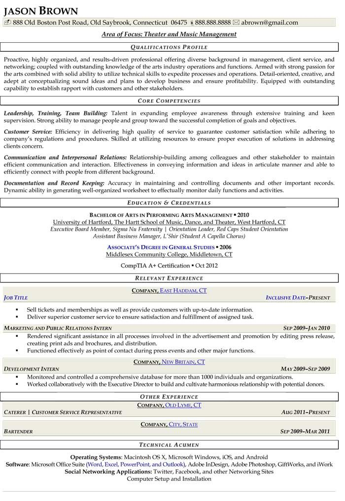 Theater and Music Manager Resume (Sample) Resume Samples - management resumes samples