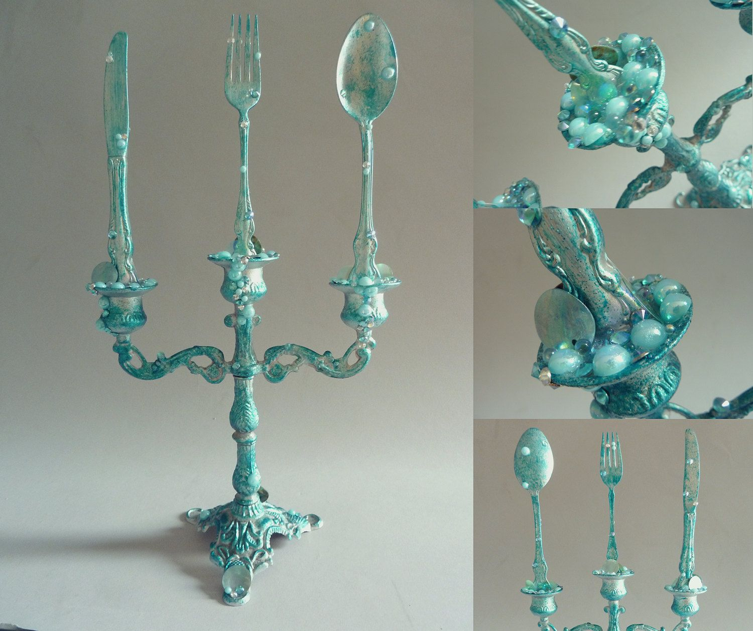 Little mermaid bathroom - The Little Mermaid Candelabra With Dinglehopper Blue Teal Silver